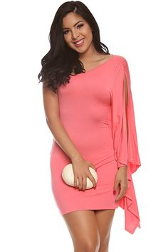 CORAL OFF THE SHOULDER PEEKABOO ARM DRESS 6f31588de
