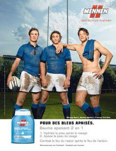Morgan Parra, Maxime Médard et François Trinh-Duc sont apaisés grâce à Mennen. Nous, on est contentes que François ait pensé à enlever son polo.