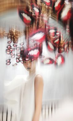 paper, silk and wire hat by Philip Treacy, Spring/Summer 2003. Silk dress by Hussein Chalayan, Spring/Summer 1999. Model, Xiao Wen Ju at IMG. Styled by Isabella Blow. © Nick Knight | VOGUE Paris