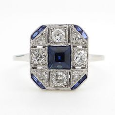 Catawiki online auction house: 18k white gold ring with gemstones 0.88 ct