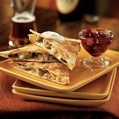 Leftover cranberry sauce transforms into a spicy salsa for these delicious turkey quesadillas: Jack Quesadillas with Cranberry Salsa | CookingLight.com