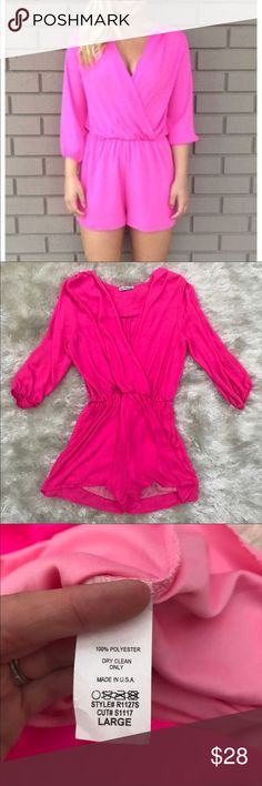DAINTY HOOLIGAN Hot Pink Neon Romper Flattering hot pink romper from Dainty Hooligan. Color is closer to first photo -- is a pretty standard hot pink color. Size large. Bottoms are lined. Sold out online. Dainty Hooligan Pants Jumpsuits & Rompers