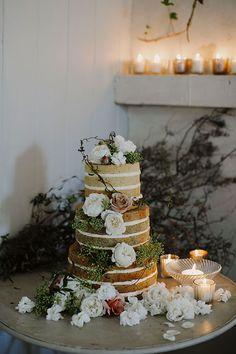 AMIE + CHRIs // #nakedcake #floral #flower #cake #reception #dessert #tier #layer #rose #flowers #foliage #white #blush #green #romantic #elegant
