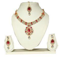 Ftrendy American Diamond Golden Alloy Metal Heavey Necklace Set FIS100D83