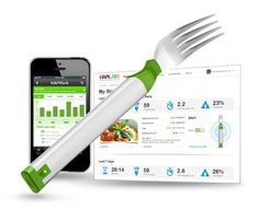 The HAPIfork is an electronic fork that monitors your eating habits. The HAPIfork gives you precise information about your eating schedule. The HAPIfork alerts you with the help of indicator lights when you are eating too fast. Gadgets And Gizmos, Tech Gadgets, Cool Gadgets, Fitness Gadgets, Las Vegas, Bluetooth, Lose Weight, Weight Loss, Reduce Weight