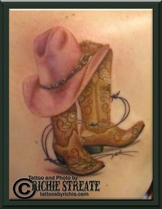 cowboy+boot+tattoo | Cowboy Boot Hat Grave Tattoo Pictures