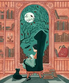 A personal piece for Halloween. This is my Halloween dream- a big, comfy chair, blanket, black cat bff and a pile of spooky books. Halloween Illustration, Children's Book Illustration, Illustrations, Halloween Night, Halloween Art, Happy Halloween, Halloween 2018, Halloween Horror, Vintage Halloween
