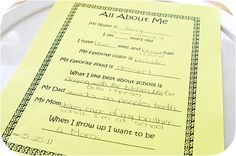 All About Me Fill in the Blank to put in Time Capsules? (this would have been fun if our high schools gave us one of these on our graduation day and then at our reunion they gave them back to us!!)