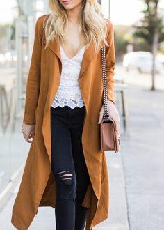 Coat: tumblr mustard mustard top white top white lace top lace top jeans black jeans black ripped