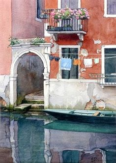 Venetian Detail II by Brian Robinson - As soon as I had finished this painting I realised that I should have changed the colour of the black knickers . Watercolor City, Watercolor Sketch, Watercolor Artists, Watercolor Landscape, Watercolour Painting, Landscape Paintings, Watercolors, Watercolor Architecture, Art And Architecture