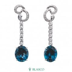 Pendientes de oro blanco, diamantes y topacios azules London Blue