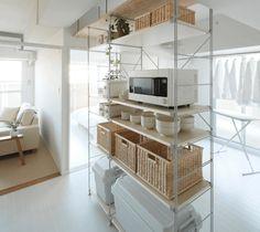 Muji Storage, Muji Style, Japanese Apartment, Japanese Interior, Inspired Homes, Kitchen Organization, Living Room Decor, House, Shelves