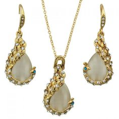 A Suit of Trendy Faux Opal Rhinestone Peacock Necklace and Earrings For Women #women, #men, #hats, #watches, #belts, #fashion, #style