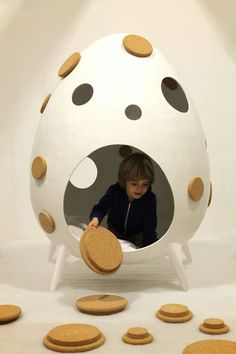 Play with design : Cocoon by Binome Play Spaces, Kid Spaces, Theme Design, Design Design, Kids Cafe, Cocoon, Kids Library, Indoor Playground, Kids Store