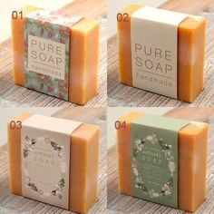 Natural Soap Paper Label Four types Select one by glassnam on Etsy Handmade Soap Packaging, Handmade Soap Recipes, Handmade Soaps, Homemade Soap Bars, Soap Packing, Pure Soap, Soap Labels, Soap Display, Home Made Soap