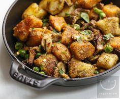 Crispy Carrot & Potato Gnocchi with Walnut Pesto
