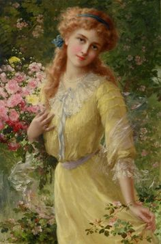 Emile Vernon Portrait Of A Girl Oil Painting Reproductions for sale Victorian Paintings, Victorian Art, Victorian Women, Vintage Prints, Vintage Art, Vintage Ladies, Classic Paintings, Beautiful Paintings, Vernon