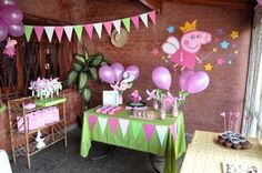 Peppa pig party decorations and ideas Pig Birthday Cakes, 3rd Birthday Parties, Birthday Party Decorations, 2nd Birthday, Party Themes, Aniversario Peppa Pig, Cumple Peppa Pig, Barbie, Peppa Pig Party Ideas