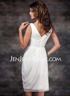 Sheath V-neck Knee-Length Chiffon Bridesmaid Dress With Ruffle (007022516)