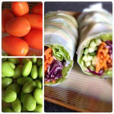 veggie spring rolls Health Snacks, Healthy Summer Snacks, Healthy Treats, Healthy Foods, Fit Foods, Healthy Recipes, Yummy Recipes, Daily Motivation, Veggie Dishes