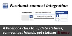 Facebook connect & API integration . The Facebook connect enable you to login a user into your website using his Facebook account, and the ability to request and display his Facebook information into your application or website (like Facebook friends, Facebook pages