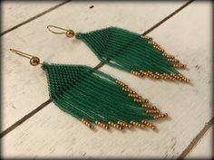 Green Fringe Earrings | Beaded Fringe | Gift for her | Seed bead Earrings | Long Earring | Green Earring | Spring Earring | St Patrick's Day by DPTeeCreationsShop on Etsy