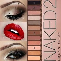Makeup Tutorial For Brown Eyes Urban Decay - Makeup Eye Makeup Steps, Smokey Eye Makeup, Skin Makeup, Makeup Eyeshadow, Makeup Tips, Eyeshadow Palette, Makeup Hacks, Eyeshadow Brands, Brown Eyeshadow
