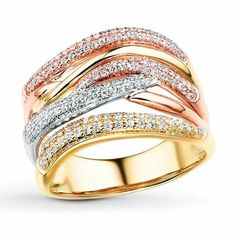 Love this Tri gold band with diamonds!