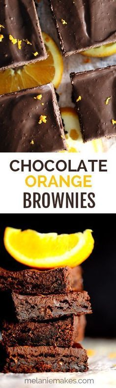 These Chocolate Orange Brownies use every part of the orange  pulp, juice and zest  for maximum flavor. These rich, chocolatey brownies are spiked with fresh juice, the pulp is used as an egg replacement and the chocolate ganache frosting is studded wit