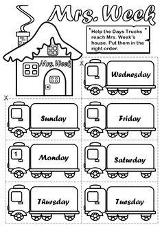 Week ( Page 2 - BW) - Days of the week - ESL worksheet by gabitza Days Of The Week Activities, Preschool Learning Activities, English Activities, Preschool Curriculum, Preschool Worksheets, Homeschooling, English Grammar For Kids, Learning English For Kids, Primary English