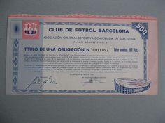 "FC Barcelona, Titulo de una obligacion de 500 pesetas, construccion de Camp Nou  The construction of Camp Nou started on 28 March 1954 as Barcelona's previous stadium, Camp de Les Corts, had no room for expansion. Although originally planned to be called ""Estadi del FC Barcelona"", the more popular name ""Camp Nou"" was used."