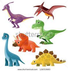 Tyrannosaurus,Pterosaur,Hadrosaurid,Triceratops,Stegosaurus and Brontosaurus