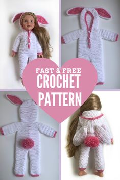 """Fast and Free crochet pattern. Bunny themed hooded onesie pyjamas for 18"""" dolls. Easy skill level. Works up quickly. Fast Crochet, American Girl Crochet, Easter Gifts For Kids, Child Doll, Easy Crochet Patterns, Cute Bunny, Half Double Crochet, Clothes Patterns, Yarn Colors"""