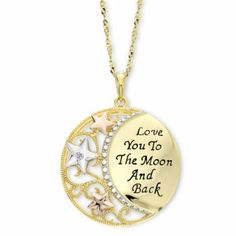Diamond Accent Love You To the Moon Pendant