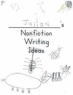 Writing about non-fiction in kindergarten.  A look at some of the basic text features.