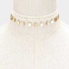 Metal Disc Charm Crochet Choker Necklace - White
