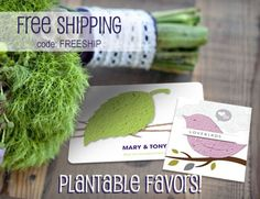 Free shipping on all plantable favors at Daisy Giggles with coupon code FREESHIP in the month of March. Great and unique selection of plantable, seed paper favors that can be customized.