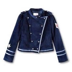 Annie navy suede military jacket