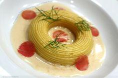 fresh spaghetti, prawn, la quercia speck, shellfish cream sauce