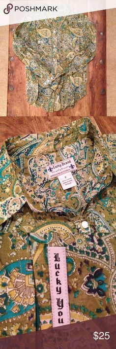 Lucky Brand paisley shirt Beautiful vintage Lucky Brand cotton paisley pattern shirt with snap buttons. Slim fit. Lucky Brand Tops Button Down Shirts