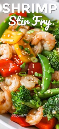 Shrimp Stir Fry - Spend With Pennies Shrimp Stir Fry is a quick and healthy 30 minute meal that everyone loves! Loads of ginger and garlic, fresh veggies and juicy shrimp are tossed in a simple delicious stir fry sauce. Fried Shrimp Recipes, Prawn Recipes, Shrimp Dishes, Fish Recipes, Veggie Recipes, Seafood Recipes, Cooking Recipes, Healthy Recipes, Cooking Fish