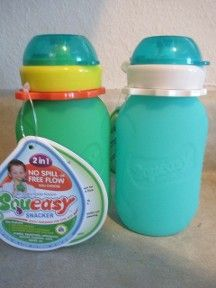 Squeasy Gear Review and giveaway non spill snacking option for kids Green