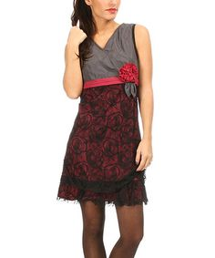 Anthracite & Fuchsia Rosette Surplice Dress by L33 by Virginie&Moi #zulily #zulilyfinds