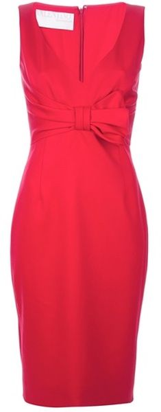 VALENTINO Bow Detail Slim Dress - Lyst