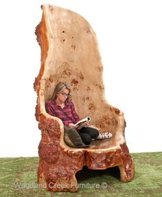 Carved Log Tree Chair Available at Woodland Creek