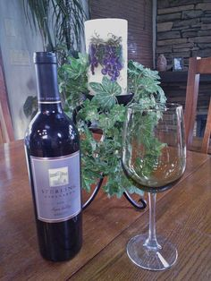 a flickering grape candle and a bottle of wine...perfect!  Brite Ideas Flameless Grape candle..www.briteideas.biz