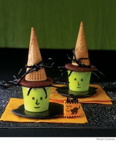 witch pudding cups using black licorice, ice cream cones, marker, green food coloring, cookies and choc frosting as glue