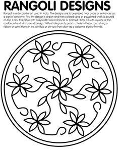 Rangoli Designs Printable Coloring Pages Indian Crafts, Indian Art, Rangoli Designs, Henna Designs, Colored Sand, Colored Pencils, Printable Coloring Pages, Coloring Pages For Kids, Rangoli Photos