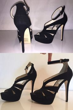 """New Michael Kors 6.5 M Black Sexy Leather Suede Heels 5"""" Height Ankle Strap Open"""