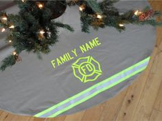 OMG I have to have this!!!!!  Personalized Custom Made Holiday Tree Skirt Like Firefighter Turnout Bunker Gear with Maltese Cross and Name of Your Choice Plus Reflective on Etsy, $79.00